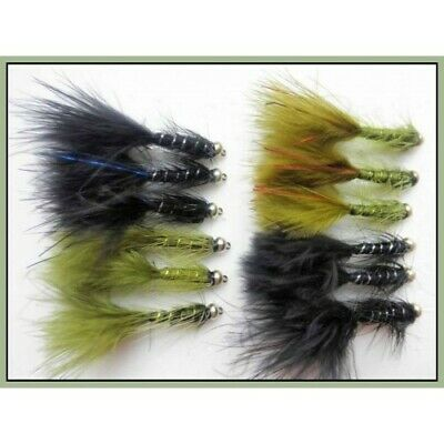 Trout Flies, 12 Flash Damsels, Olive & Black, Blue and Red Flash, Size 10.