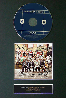 MUMFORD AND SONS Babel Signed Autograph CD & Cover Mounted Print A4 52