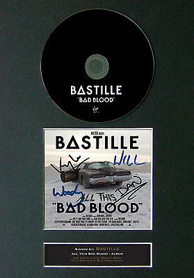 BASTILLE All This Bad Blood Signed Autograph CD & Cover Mounted Print A4 31