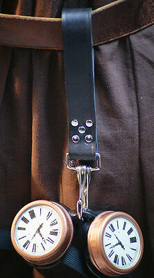 Steampunk-Larp-Reenactment-Cosplay-LEATHER GOGGLE HOLDER-CHOICE OF CLASP COLOUR