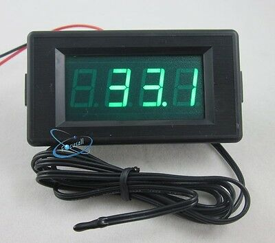 Green DC 12V Digital Thermometer High Low Alarm -60~125C Temperature + Probe