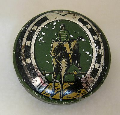 Vintage Tin English Horse Jumping and Horse Shoe   DRW1