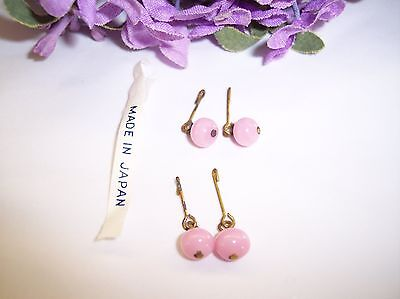 Vintage  Doll  Earrings Pink Glass 2 Pair Made In Japan Bleuette , Antique