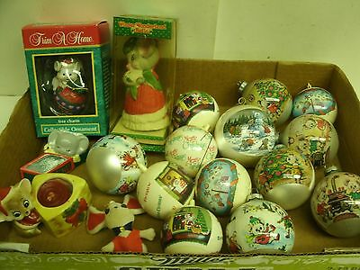 Lot of Christmas Mice Mouse Ornaments, bell, candle holder: glass, plastic, wood