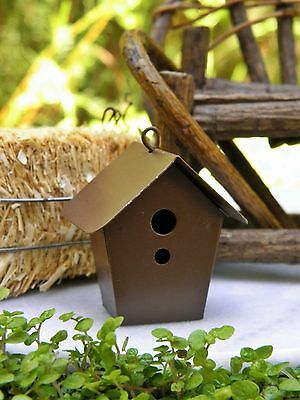 NIP FAIRY GARDEN OR Dollhouse Miniature RUSTIC TIN BIRDHOUSE Rusty Tin NEW