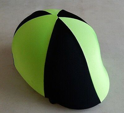Horse Helmet Cover ALL AUSTRALIAN MADE Lime green & Black Any size you need