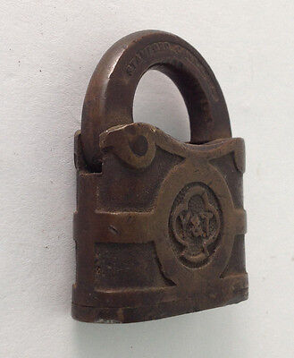 Antique Collectible Yale & Towne Solid Brass Padlock Lock Stamford CT No Key