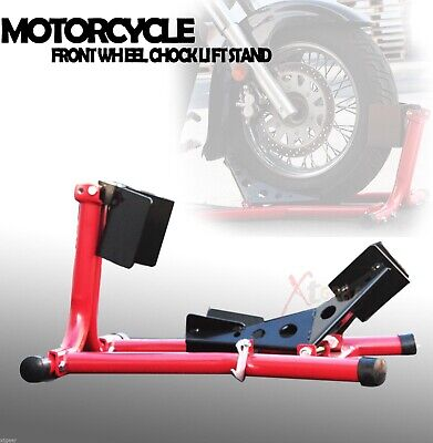 Front Wheel Chock Lift Stand 4 Trailering Motorcycle Sport Bikes & Cruisers