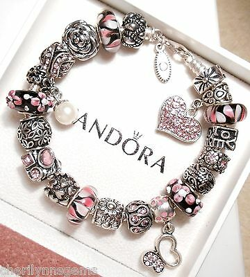 Authentic Pandora Silver Charm Bracelet, with Charms! Love Pink Heart