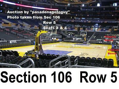 2 Clippers v LAKERS 4/7/15 Sec~106 Row 5 close to Section 105