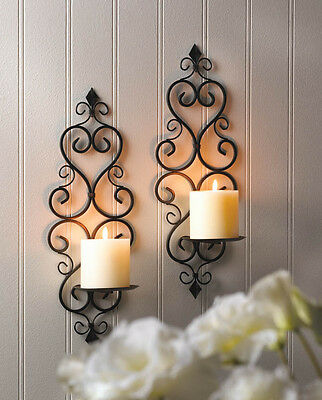SET OF 2 LOVESTONE WALL SCONCE WROUGHT IRON CANDLE HOLDER PILLAR DECOR~10015834