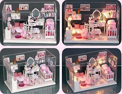 Dollhouse Miniature DIY Kit with Cover Romantic Pretty Princess Dream House Home