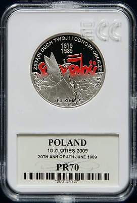 2009 Poland SILVER coin SOLIDARNOSC free elections 1989 Pope JAN PAWEL II PR70