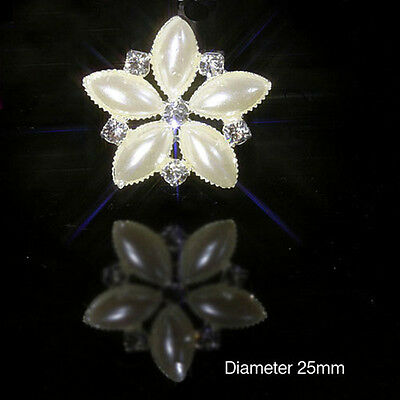 Pearl & Diamante Silver Flower Rhinestone Embellishments 2.5Cm Weddings Crafts