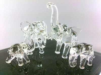 Crystal Family Elephant Hand Blown Clear Glass Art Figurine Decor/collection
