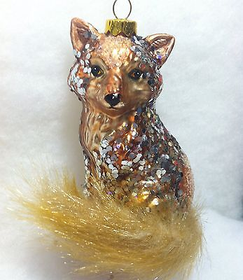 Fur Tail, Glass Red Fox Christmas Tree Ornament With Silver Glitter