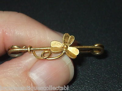 ANTIQUE VINTAGE VICTORIAN ART NOUVEAU GOLD FILLED LUCKY SHAMROCK CLOVER BROOCH