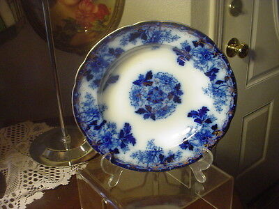 FLOW BLUE SALAD BOWL PLATE DATED 1902 LUZERNE BY MERCER POTTERY CO TRENTON NJ