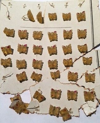 Vintage Antique Amber Glass Butterfly Buttons Original Card 1 Doz Doll