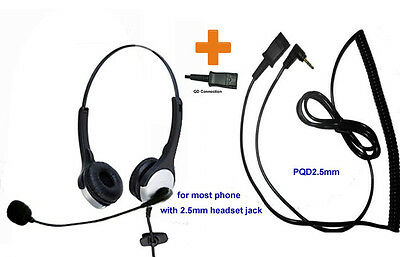 Call center headset with 2.5m jack for AT&T 992 993 7939 & Polycom SE220 225 320