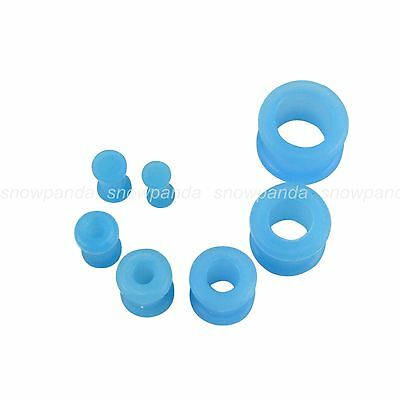2PCS Fashion Flexible Silicone Blue Solid Ear Tunnel Plugs Stretcher Expander