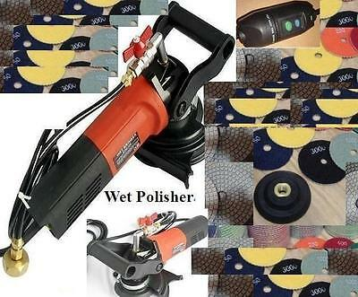 Variable Speed Concrete Cement Wet Polisher Grinder & Diamond Pad Set granite