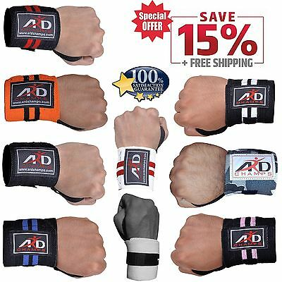 "ARD Power Weight Lifting Wrist Wraps Supports Gym Training Fist Straps 15"" long"