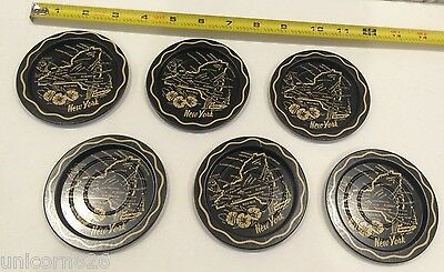 SET OF 6 VINTAGE METAL NEW YORK STATE COASTERS IN AMAZING CONDITION