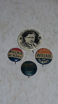 VINTAGE PRESIDENTIAL POLITICAL CAMPAIGN BUTTON WENDELL LEWIS WILLKIE AND MCNARY