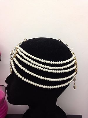 Silver Diamante Pearl Matha Patti Head Piece indian Wedding Party Jewellery