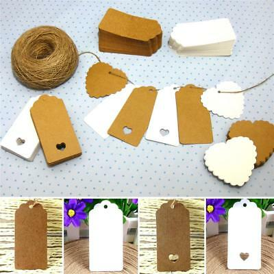 10/25/50/100 Kraft Paper Gift Tags Scallop Label Luggage Wedding Blank + Strings