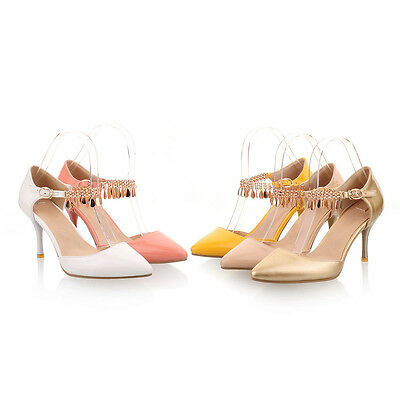 New Ladies' Synthetic Leathe High Heels Ankle Strap Sandals Pointed Shoes SNX346