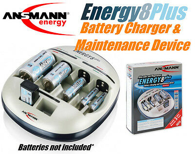 Ansmann Energy 8 Plus AAA AA C D 9V 8 cell NiMH NiCd Battery Maintenance Charger