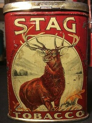 Vintage Stag Tobacco Tin Advertising Pocket Can Cigarettes Small Size Rare T1351