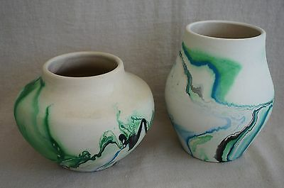 "NEMADJI Indian Pottery VASES (2) Swirl Clay - GREEN-BLUE-BLACK 5 1/2"" & 4 1/4"""