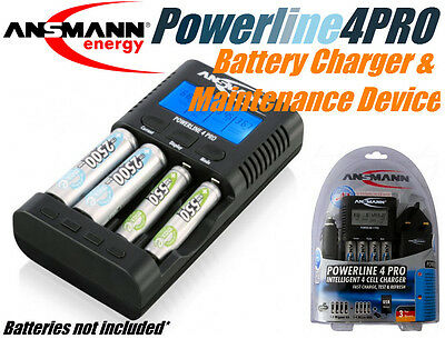 Ansmann Powerline 4 Pro Travel 100-240VAC 12VDC 4 Cell NiMH NiCd Battery charger