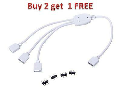 4Pin Splitter 1 to 3 Connector Female Cable Male Adapter For LED RGB Strip Light