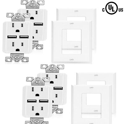 SenQ 4Pack UL Listed  USB Outlet Port Charger Wall Plate Sockets Receptacle Plug