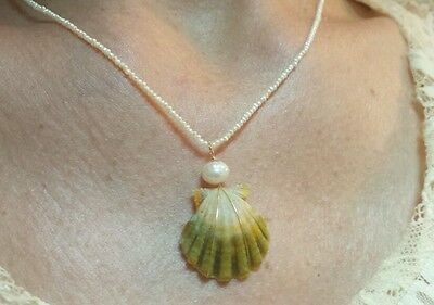 Hawaii sunrise moonrise shell and tiny 1-2mm freshwater seed pearls necklace