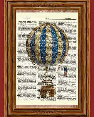 Vintage Retro Hot Air Balloon Dictionary Curious Art Print Poster Picture OOAK