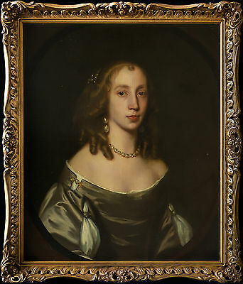 Fine Large 17th Century English Old Master Portrait of Lady Antique Oil Painting