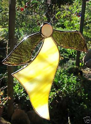 YELLOW CRYSTAL ' JOY & HAPPINESS ANGEL ' suncatcher Handmade STAINED GLASS Gifts