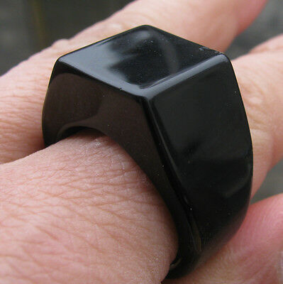 old antique Chinese black onyx  jade  hand carved   man ring sz10