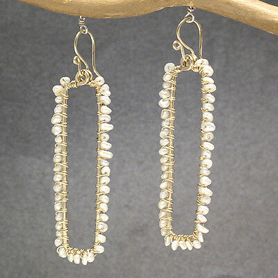 Artisan Earrings Hammered 14K Gold Filled Sterling Rectangle Ivory Seed Pearls