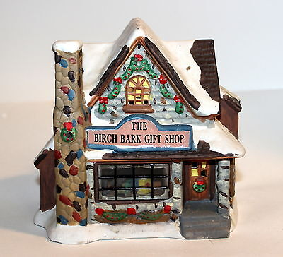 Porcelain BIRCH BARK GIFT SHOP with Interior Scene for Lemax or Dept 56