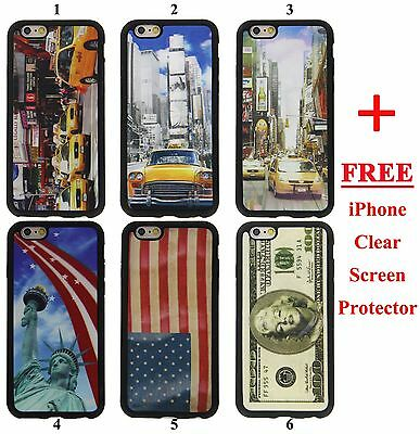 "iPhone 6 Plus 5.5"" 3D Case Gel Rubber Cover NewYork NYC Time Square Taxi US Flag"
