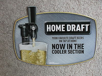 NEW MILLER COORS HOME DRAFT METAL TIN TACKER EMBOSSED SIGN MANCAVE BAR PUB WOW!!