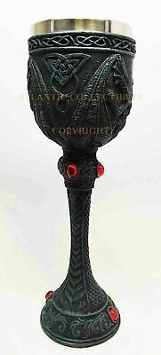Celtic Double Dragon Beverage Goblet Chalice Cup with Red Gem Statue Collectible