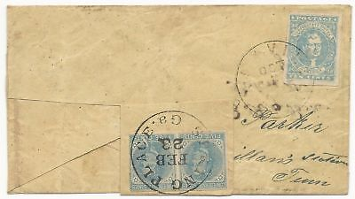 CSA Turned Cover Scott #2 Knoxville, TN #7 Pair Spring Place, GA (1862) VF