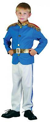 Kids Boys Prince Charming Fancy Dress Fairy Tale Uniform Costume Blue Gold Book